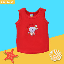Children 100% Cotton Sleeveless Shirts Round Collar Boys and Girls Summer Blouse 2019 Little Q New Style Baby Embroidered Suits(China)