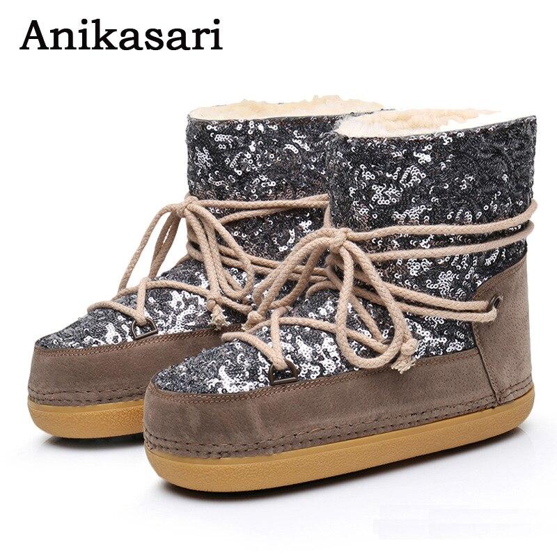 여성용 부츠 플러스 캐시미어 따뜻한 스팽글 플랫폼 - 여성 신발