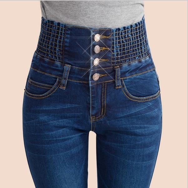 4106855eb9d8ea De Color Azul 2017 Nueva Moda Jeans Mujer Delgada Cintura Alta Camisa Denim  Lápiz Pantalones Largos Mujer Sexy Pantalones Vaqueros Flacos elásticos  Feminina ...