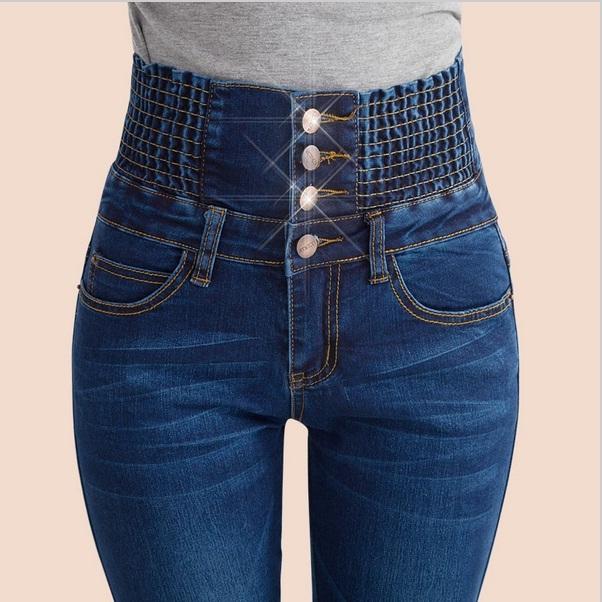 De Color Azul 2017 Nueva Moda Jeans Mujer Delgada Cintura Alta Camisa Denim Lápiz Pantalones Largos Mujer Sexy Pantalones Vaqueros Flacos elásticos Feminina
