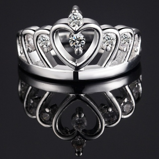 Hot Sell 925 sterling silver jewelry  925Stearling Silver Ring for Women Crown Female Ringen Engagement Ring