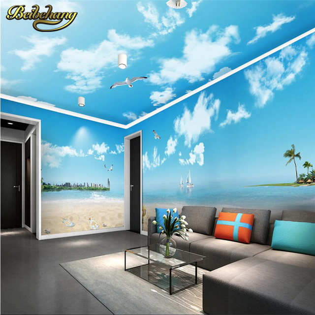 Beibehang blue sky white clouds romantic beach theme space for Mural room white house