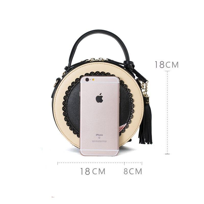 2018 vrouwen tas nieuwe tij ronde vrouwelijke cartoon geschilderd tas kwastje mini Messenger bag mode schoudertas kleine zwarte ronde tassen - 4