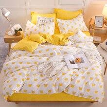 Bonenjoy黄色の王冠シングルベッドセット反応性プリントシンプルなダブルベッドシートropaデcama女王ベッドリネンキングサイズ寝具