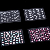 10 Sheets Nail Art Sticker 3D Flower Designs Nail Decal Sticker Self Adhesive DIY Nail Art