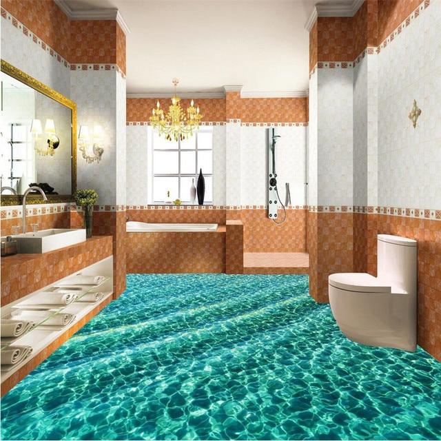 Buy Modern Floor Painting Hd Light Green Water Ripples Waterproof Bathroom