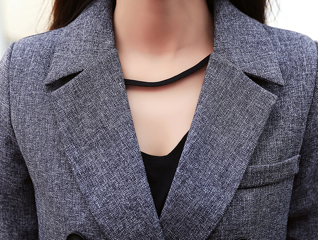 Fashion Business Pant Suits Uniform Formal Double Breasted Jacket and Long Pant Black Blazer Set Women OL 2 Two Pieces Suits 3