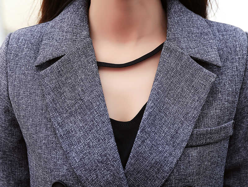 Modne spodnie biznesowe garnitury jednolita formalna dwurzędowa kurtka i długie spodnie czarny zestaw blezer Women OL 2 dwuczęściowe garnitury