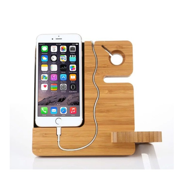Bamboo Charging Holder for iPhone 6 6s 5 5s Charging Station Stand and Watch Stand For Samsung Galaxy S7/S7 Edge/S6 Edge Plus