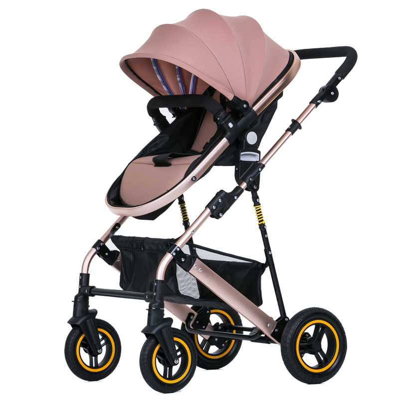 High Landscape Baby Stroller Four Wheels Newborn Baby Carriage Shock Absorber Two-way Convertible Push Handle Baby Cart Light