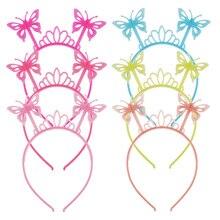 Candygirl 6pcs/set Butterfly Luminous Headband Girls Kids Plastic Glow Hair bands Accessories Party Halloween Headwear