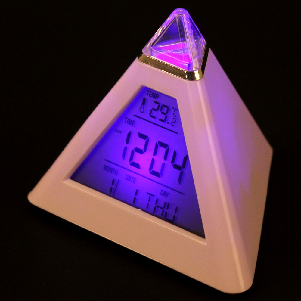 2018 New Digital Mini Desktop 7 Color LED Projector Alarm Clock with Backlight+Calendar+Temperature Table Clock Despertador