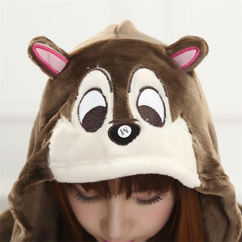 Flannel Squirrel Cosplay Onesie Chipmunks Romper Jumpsuit Cartoon Animal Costume Adult Onesies Party Dress Halloween Pijamas