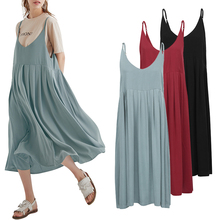 Plus Size 3XL 4XL 5XL Slip Summer Dress 2019 Women Cotton Dress Spaghetti Straps High Waist Vintage Loose Robe Casual Midi Dress цена и фото