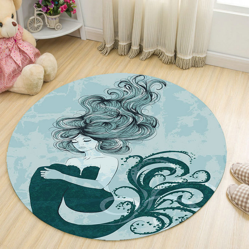 Creative Pattern Girl Printed Soft Carpets Anti-slip Rugs Computer Chair Mat Floor Mat for Home Kids Room Round Carpet