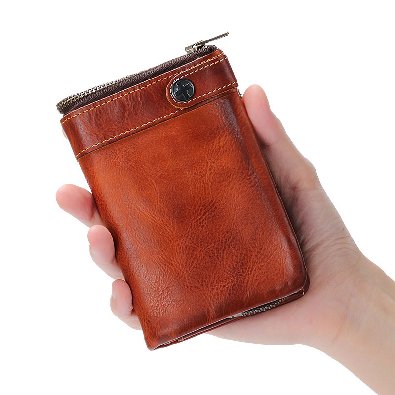 AETOO Handmade leather mens wallet vintage old vertical buckle zipper purse short paragraph multi-card bit leather wallet