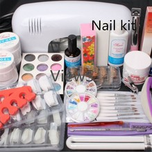 ViewS@ 25 in 1 Combo Set Professional DIY UV Gel Nail Art Kit 9W Lamp Dryer Brush Buffer Tool Nail Tips Glue Acrylic Set