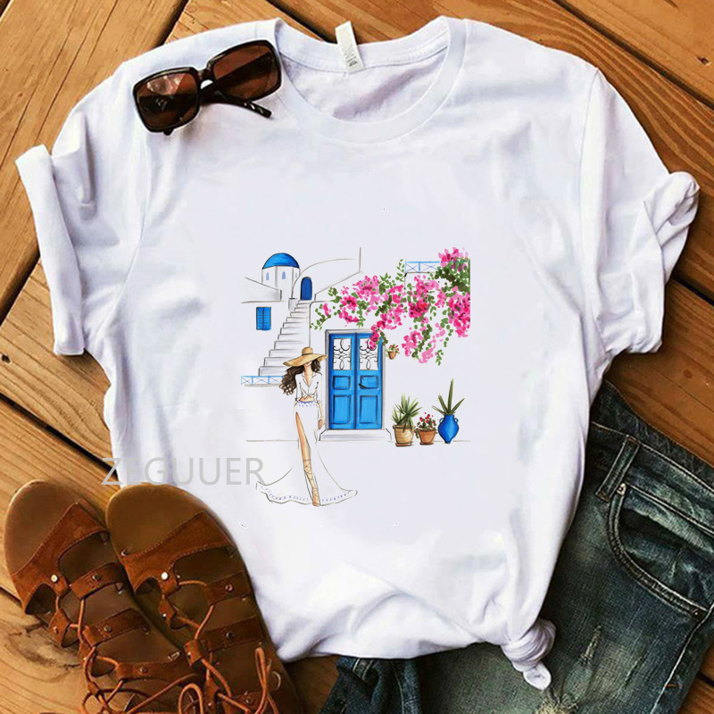 Flower Lady Santorini In Bloom T-Shirt Summer Women White TShirt Vogue Pure Cotton Soft O-Neck Tees Casual Streetwear Tops