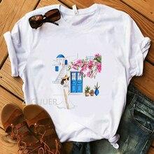 Flower Lady Santorini in Bloom T-Shirt Summer Women White TShirt Vogue Pure Cott
