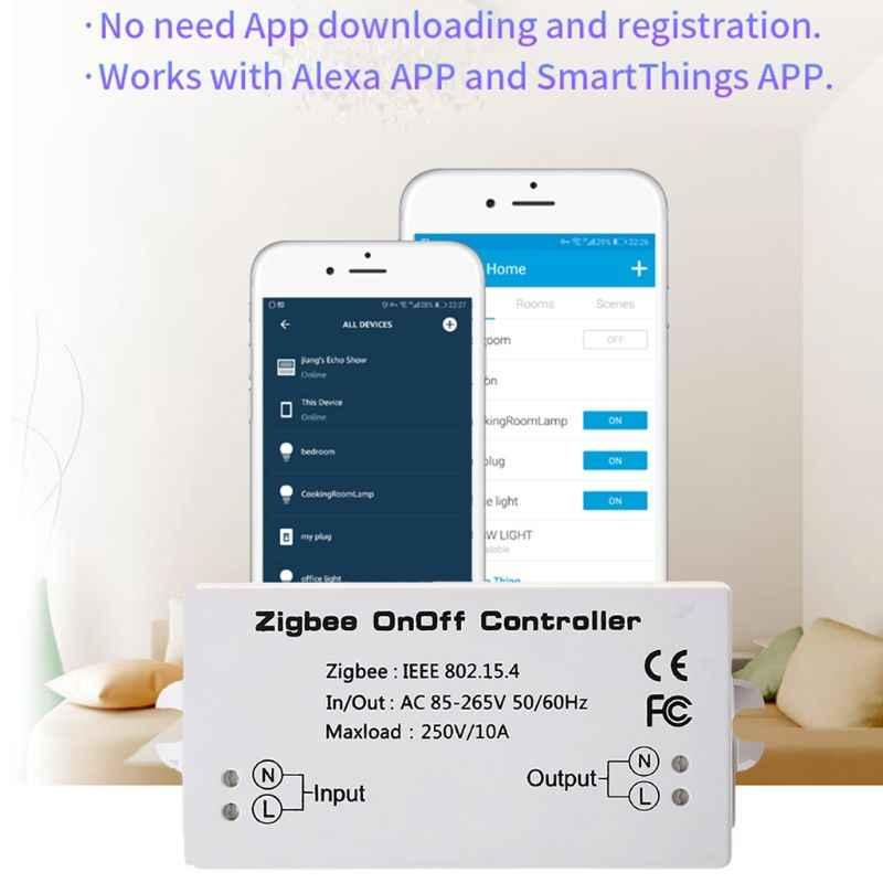 Zigbee オン/オフコントローラスマートスイッチ App リモコンスマートホームモジュール AC85-265V 10A