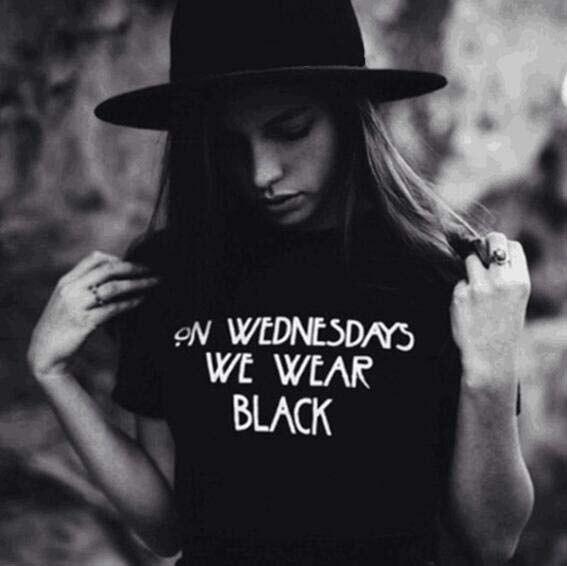 ON WEDNESDAYS WE WEAR BLACK T-shirt Girls Fashion Slogan Tumblr Style Casual Black Tops Tee Sumemr Fashion Harajuku Shirts