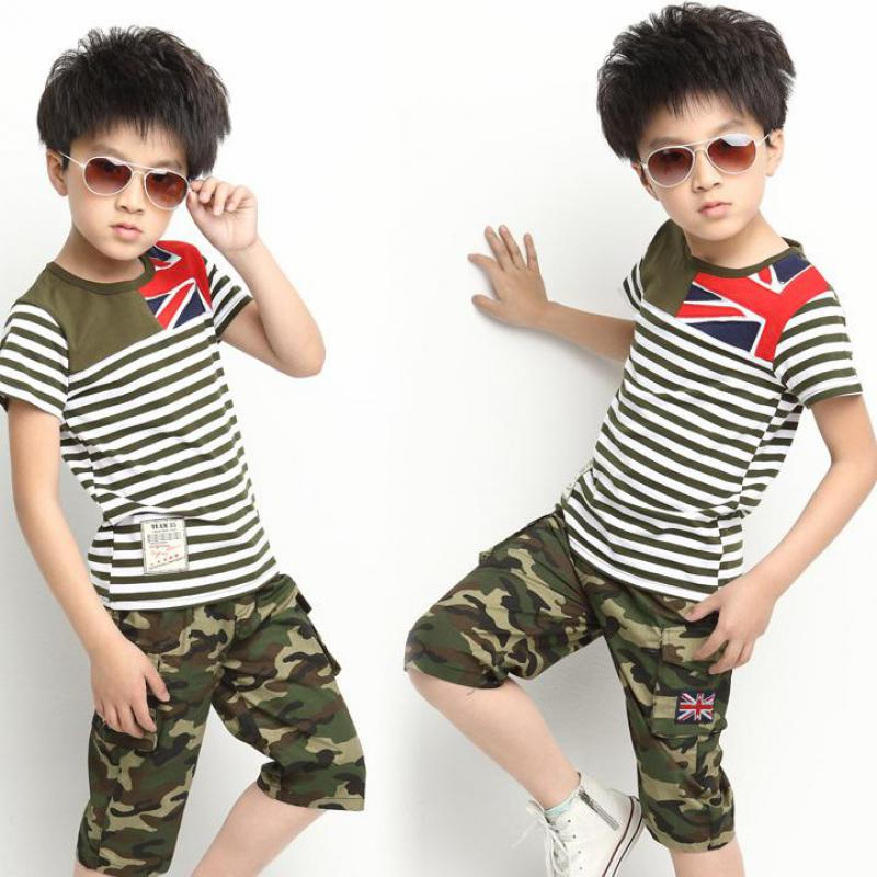 Fashion Boys Clothes Sets Kids Boys Clothing Sets Camouflage Print T Shirts + Pants 2 Pcs Boys Sports Suits Leisure Kids Clothes kids clothes sets wholesale spring and autumn boys sports leisure suit t shirt hoodie long pants free shipping in stock