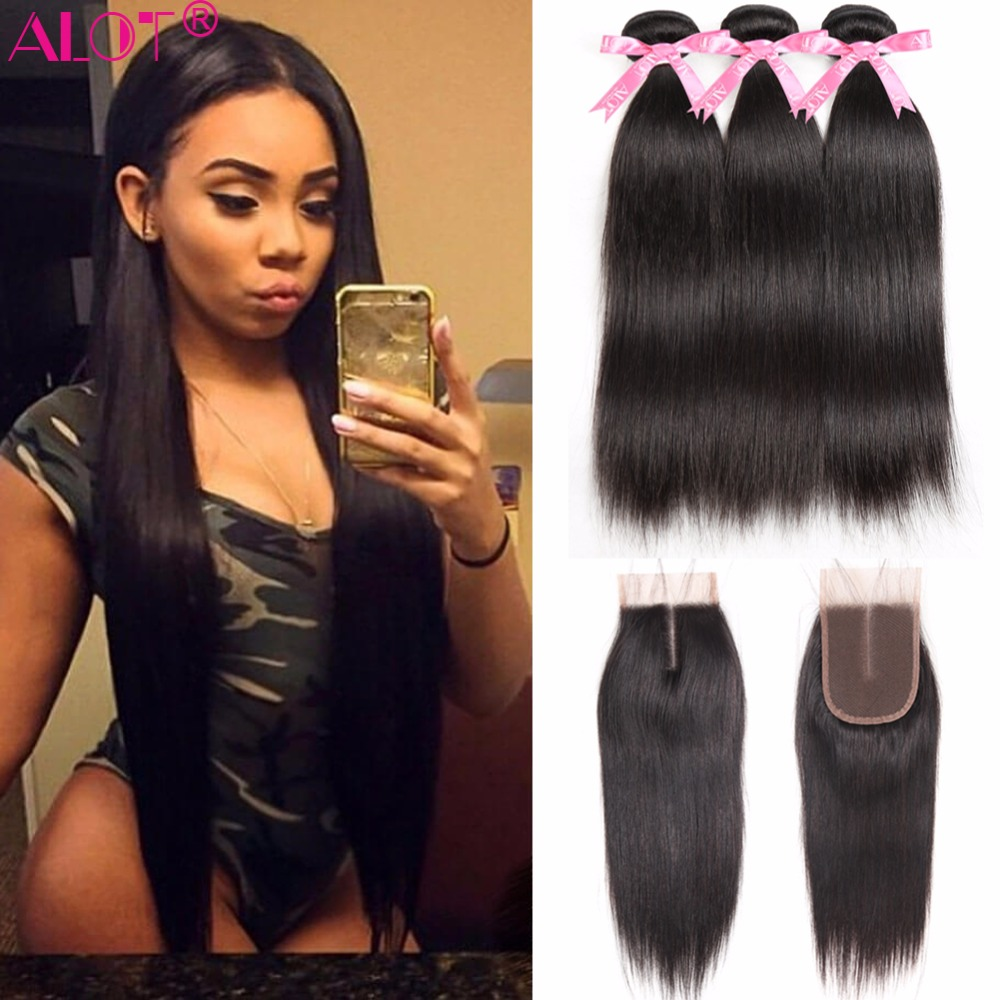 Alot Peruvian Straight Human Hair Bundles With Closure Natural Color 3 Bundles Hair Weave With Lace Closure Non Remy 4 Pcs