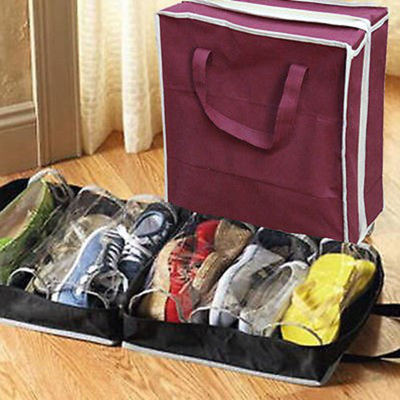 Red Texture Drawstring Portable Storage Shoe Outdoor Travel Bag Dustproof Gift Bags
