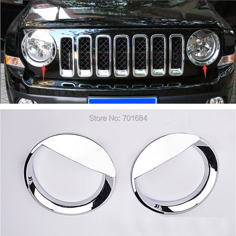 ABS Chrome Head font b Light b font Lamp Cover Trim For Jeep Patriot 2011 2012