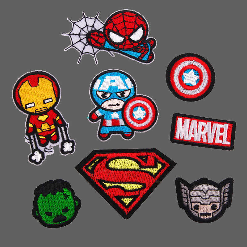 Cartone animato Superman Toppe e Stemmi Ferro su Super hero Appliques per Abbigliamento Marvel Adesivi 3D Spiderman Ricamato Vestiti FAI DA TE Parches