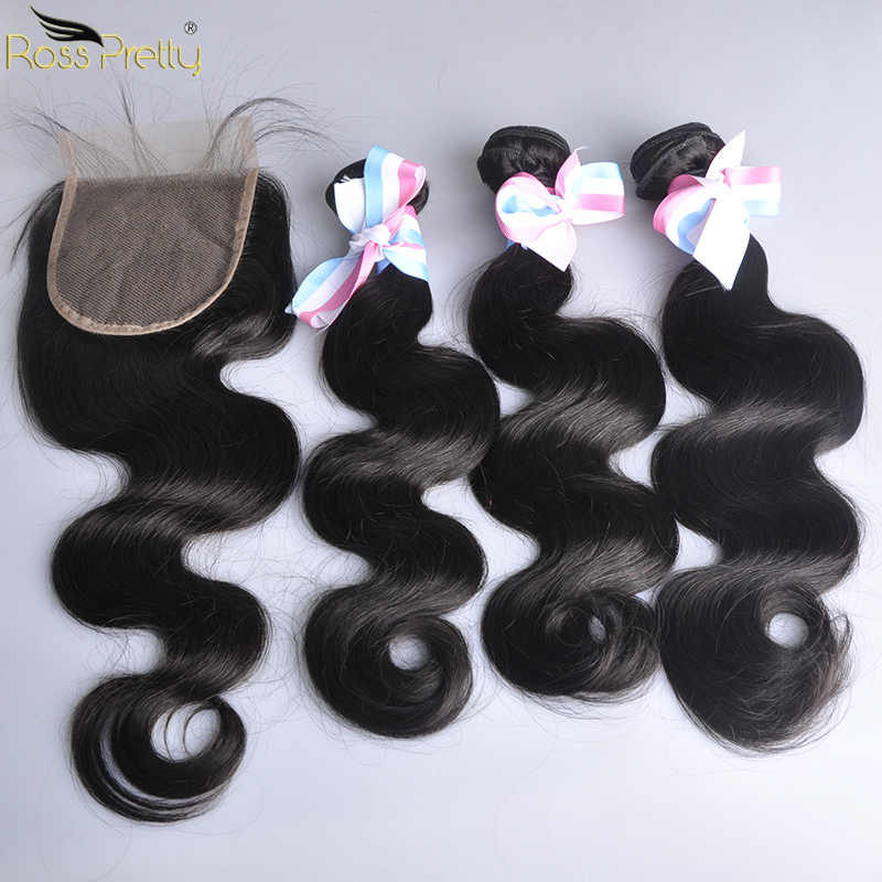 Brazilian Body Wave Bundles With Closure Pre Plucked Baby Hair Lace Closure Human Hair 3 Bundles Color 1b Black Non Remy Hair