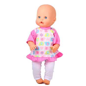 16inch Doll Clothes 41CM Nenuco Ropa Accesorios Nenuco 40CM Baby Doll Pink Red Elephant Flowers Hem T-shirt And White Pant