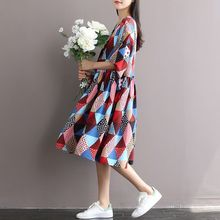 Elegant Vintage Clothing 2016 New Diamond Pattern Printing Large Size Pockets Dresses Women's Dress Plus Size Vestidos
