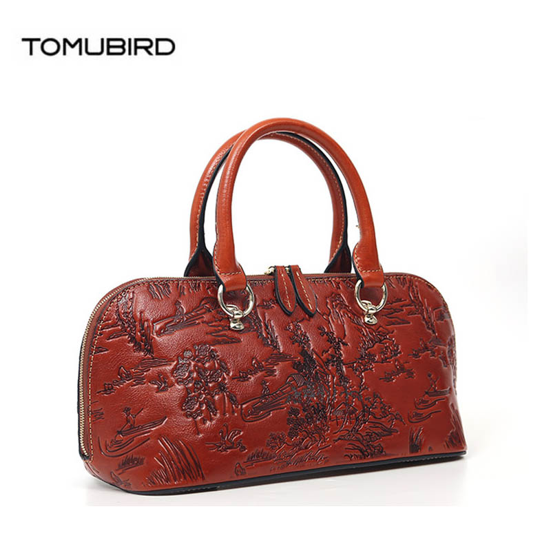 TOMUBIRD 2018 new Cowhide genuine leather women Embossing Leather art bag schoudertas dames tote women genuine leather bags ladylike women s tote bag with solid color and daisy embossing design