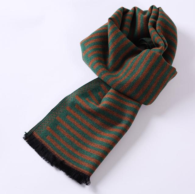 Ws03z marrón verde de la raya del calentador del cuello círculo de moda del algodón clásico de hombre mantón largo del abrigo de la bufanda