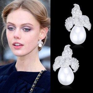 Image 1 - GODKI Spring Collection pendientes colgantes de perlas de imitación para mujer, de hoja, Perla de imitación para boda, pendiente de circonia cúbica a la moda de la India