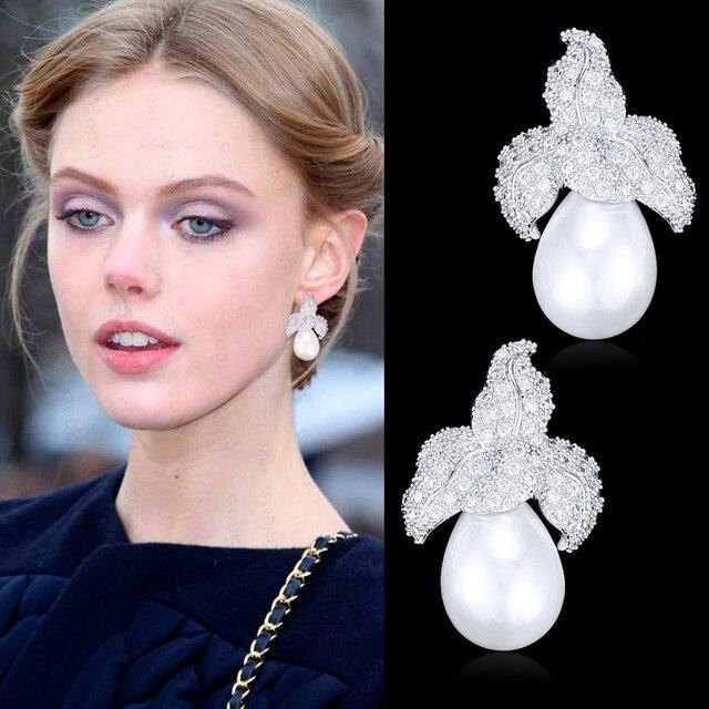 GODKI Spring Collection pendientes colgantes de perlas de imitación para mujer, de hoja, Perla de imitación para boda, pendiente de circonia cúbica a la moda de la India