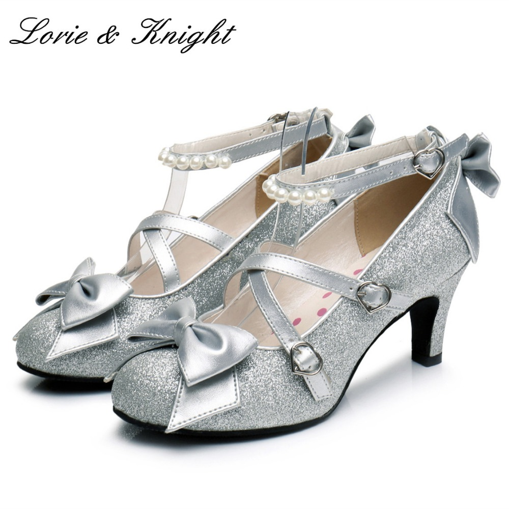 Women's Shiny Silver/Gold Sequin Pumps Criss-Cross Pearl Ankle Strap Princess Lolita Shoes