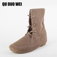 Quduowei Для женщин полусапожки из коровьей кожи модные замшевые кожаные ботинки с круглым носком Сапоги и ботинки для девочек ручной работы кожаная женская обувь