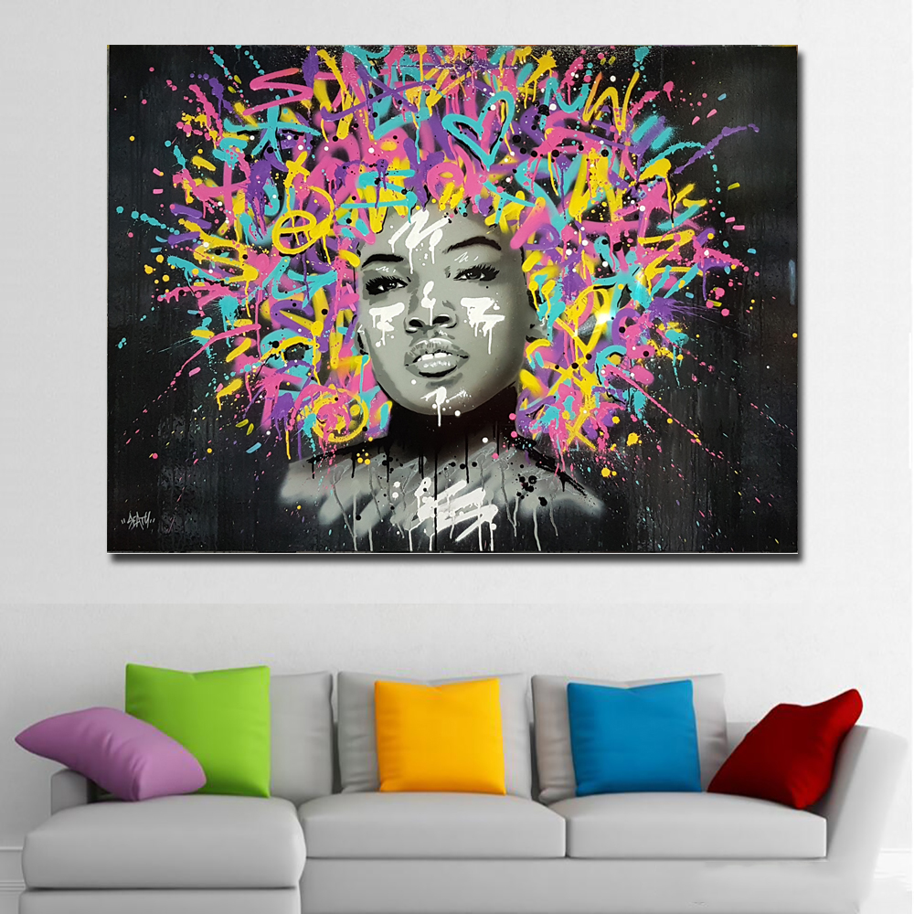 Abstract Art Canvas Prints Posters Beautiful Girl With Paintsl Hairs Graffiti Art Painting Wall Art Pictures For Living Room In Painting Calligraphy From