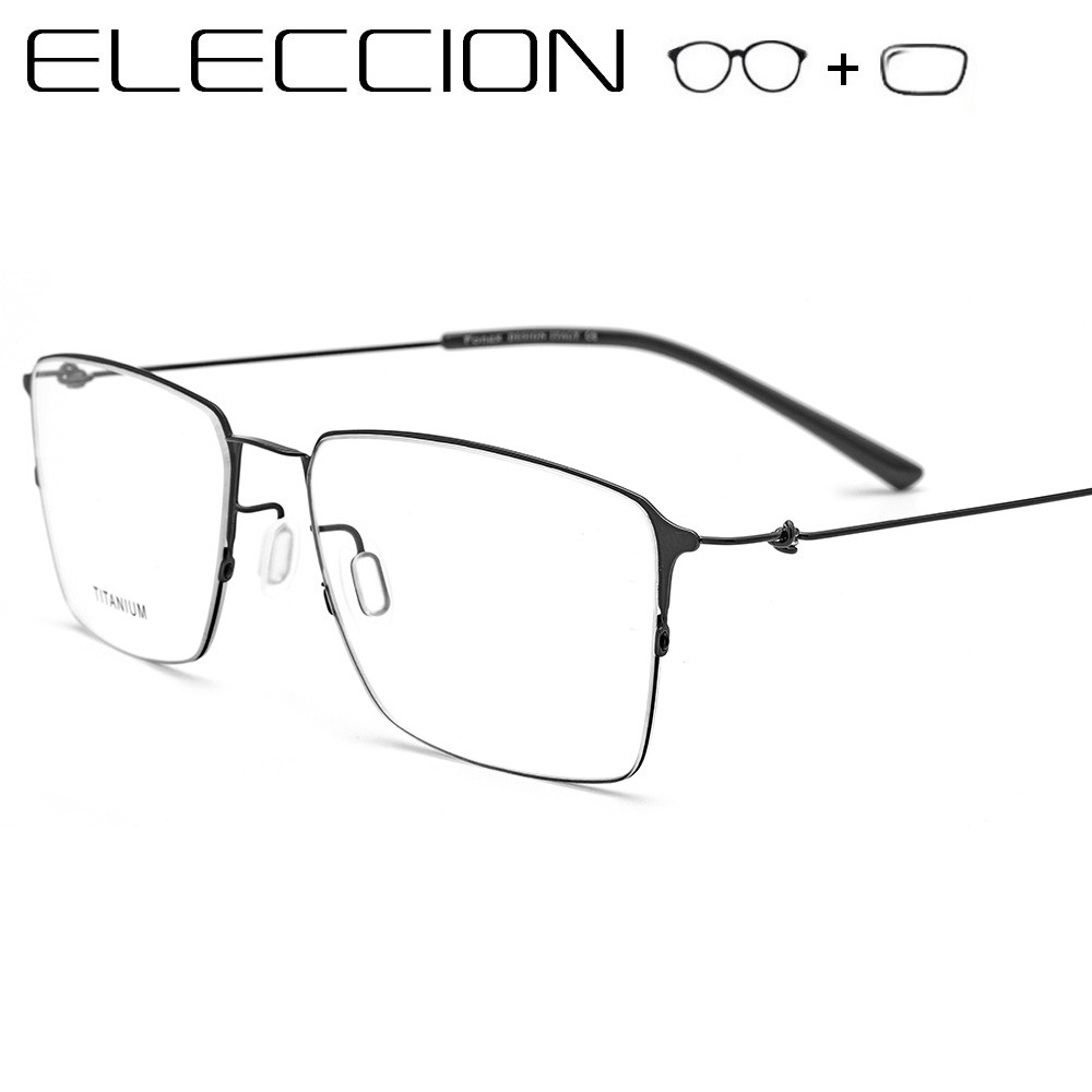 ELECCION Prescription Spectacles Men Women 2019 New Optical Half Frame Titanium Alloy Myopia Eye glasses Screwless Eyewear(China)