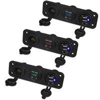 Auto Car Voltage Meter USB Motorcycle Boat 12v Dual USB Charger Car Cigarette Lighter Socket Voltmeter