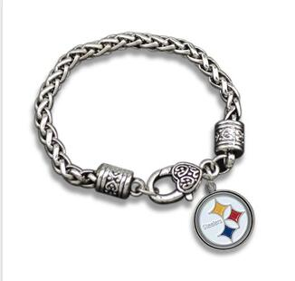 b61d89b303e 1pcs Europe couple Jewelry gift NFL Pittsburgh Steelers team logo sports  Fans alloy drip crude exaggeration Men s Bracelet