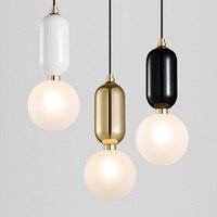 Новый Лидер продаж g9 светодиодные лампы украшения дома подвесной светильник кованого железа один подвесной светильник белый черного и зол...