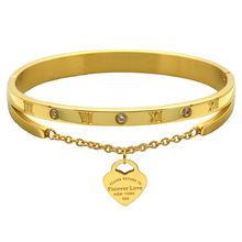 Fashion Heart Love Tag Gold Color Stainless Steel Bracelet & Bangle Famous Brand Charm Bracelet Jewelry unique design For Women
