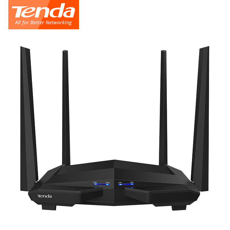Tenda AC10 1200Mbps Wireless WiFi Router,1GHz CPU+128M DDR3,1WAN+3LAN Gigabit Ports, 4*5dBi High Gain Antennas, Smart APP Manage comfast full gigabit core gateway ac gateway controller mt7621 wifi project manager with 4 1000mbps wan lan port 880mhz cf ac200