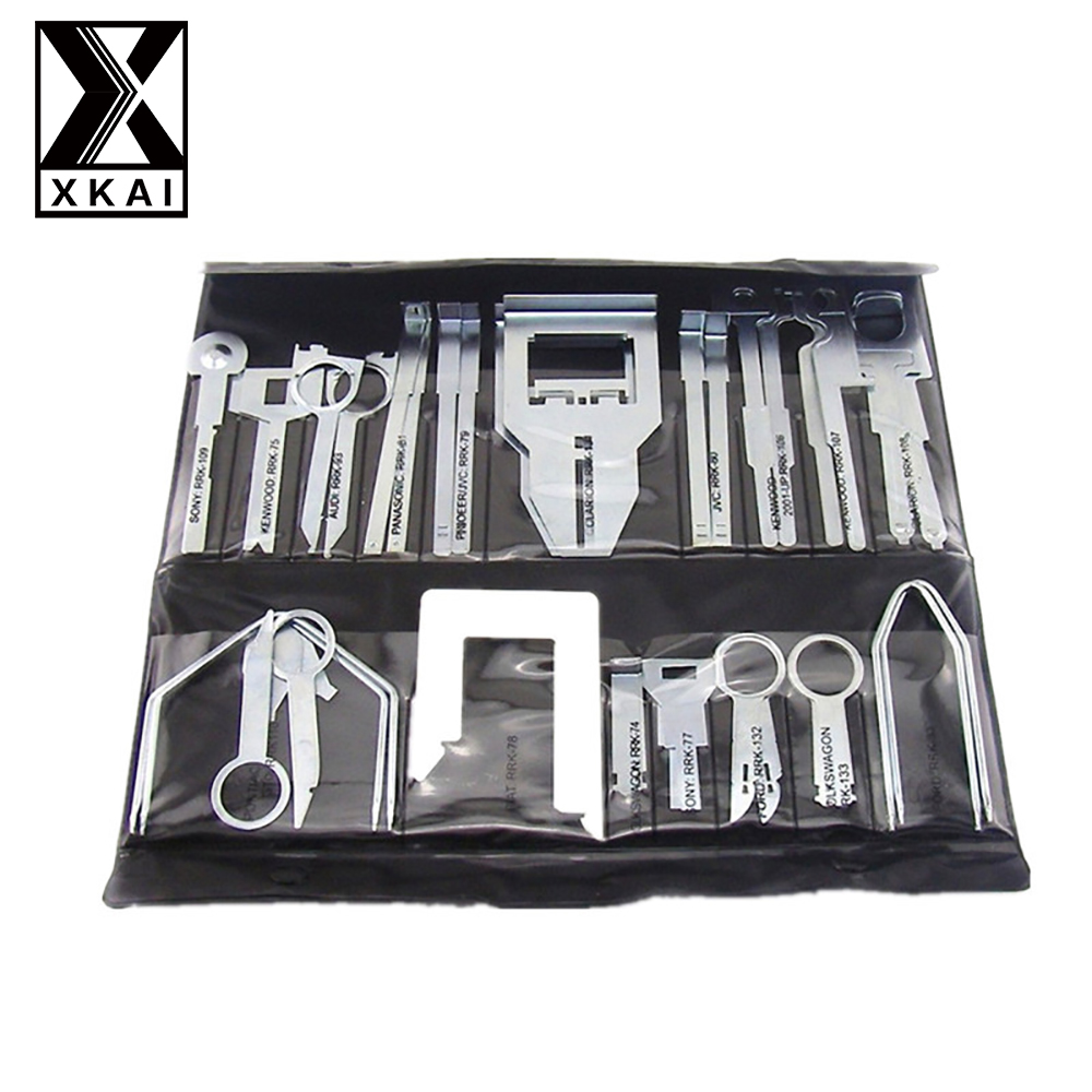 XKAI 38Pcs/Set Car Stereo Radio Release Removal Tools Key Kit for Benz Sony Ford Audi High Quality Set car stereo radio removal remove tool 4 keys for audi for ford for volkswagen car accessories
