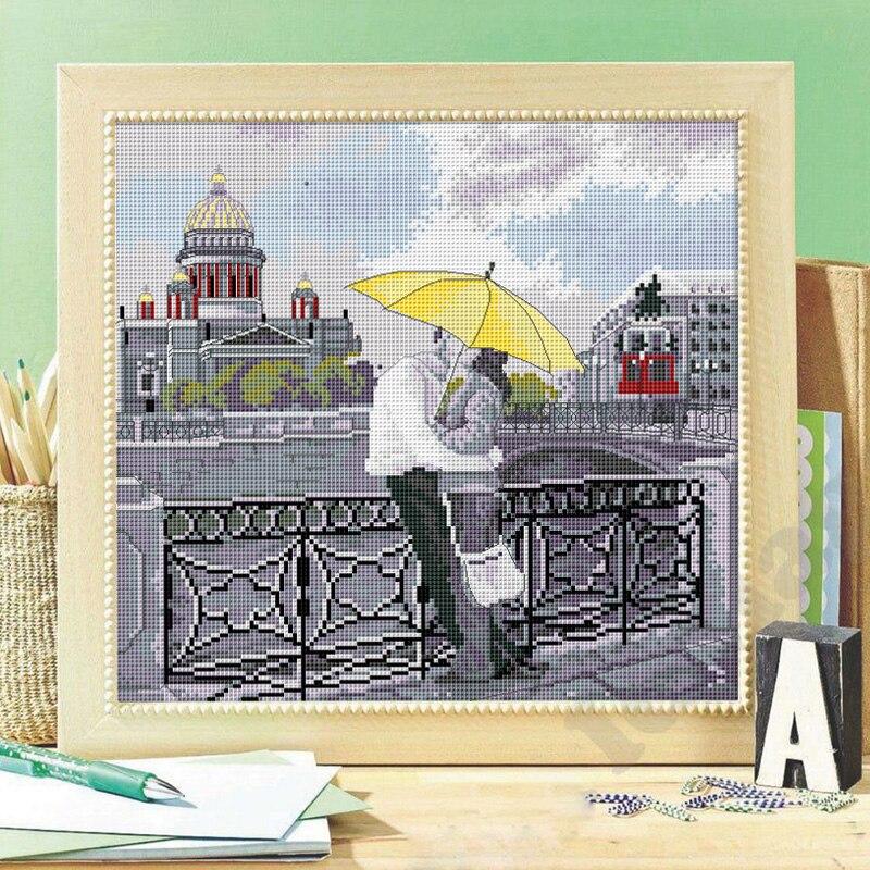 Romantic St Petersburg cross stitch kit DMC brand thread animal dog count canvas fabric embroidery handmade needlework