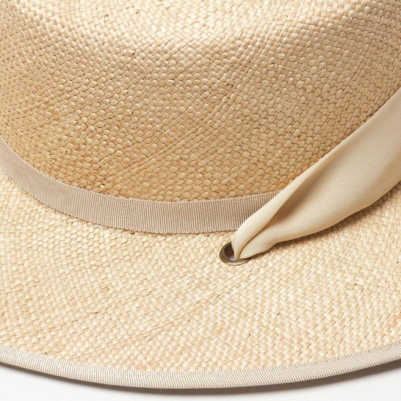 01901-HH7321 2019 nuevo diseño verano tesoro hierba tejido a mano Cinta Larga vacaciones Fedora gorra mujer ocio playa sombrero - 5