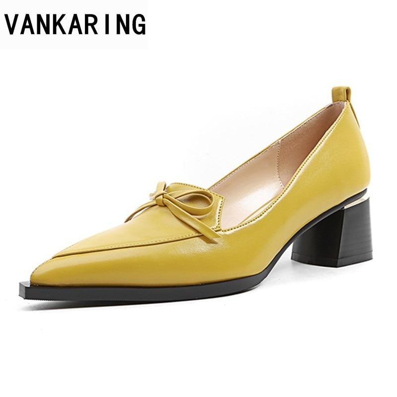 где купить VANKARING genuine cow leather high heels woman pumps shoes new 2018 spring autumn women dress party office ladies pumps shoes по лучшей цене